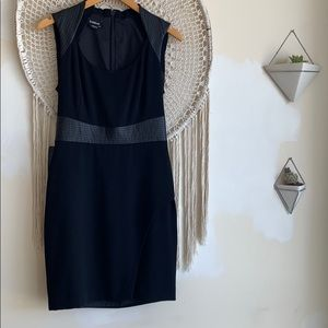 NWT BEBE Black Cocktail Dress with faux leather. 8